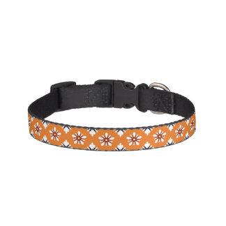 Katazome white flowers on orange pet collar