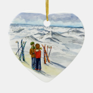 kate and jamie engagement heart ceramic ornament