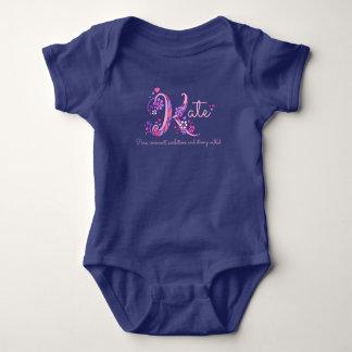 Kate girls name & meaning K monogram baby romper