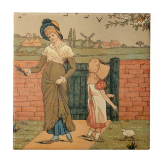 Kate Greenaway, Victorian drawing mother and child Tile