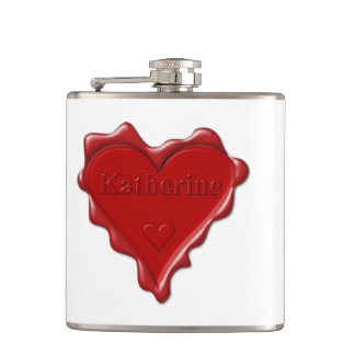 Katherine. Red heart wax seal with name Katherine. Hip Flask