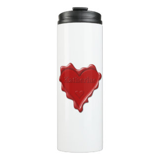 Katherine. Red heart wax seal with name Katherine. Thermal Tumbler