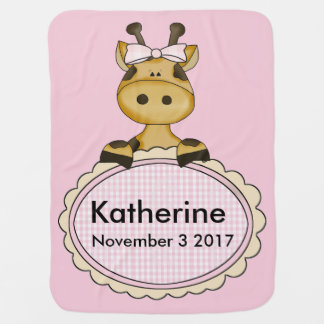Katherine's Personalized Giraffe Baby Blanket