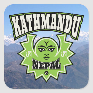 Kathmandu Nepalese Sun and Moon Symbols Square Sticker