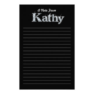 "Kathy ""Diamond Bling""  Black Stationery"