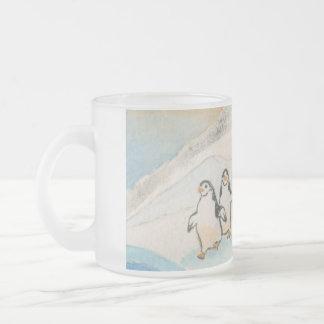 Kathy Faggella Penguin Stroll Frosted Glass Coffee Mug