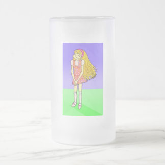 Katie Anime Art Gallery Character 16 Oz Frosted Glass Beer Mug