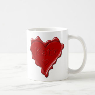 Katie. Red heart wax seal with name Katie Coffee Mug