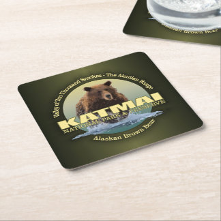 Katmai (Brown Bear) WT Square Paper Coaster