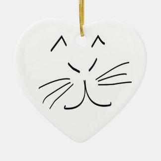 Kats Cat Design Ceramic Heart Ornament