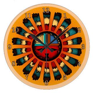 Katsina (Kachina) Feathered Sun Face Wall Clocks
