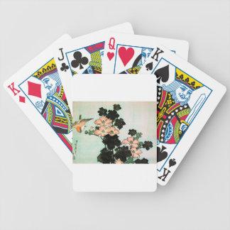 Katsushika Hokusai (葛飾北斎) - Hibiscus and Sparrow Bicycle Playing Cards