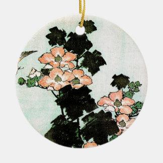 Katsushika Hokusai (葛飾北斎) - Hibiscus and Sparrow Ceramic Ornament