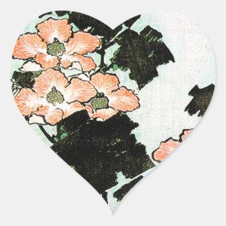 Katsushika Hokusai (葛飾北斎) - Hibiscus and Sparrow Heart Sticker