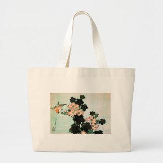 Katsushika Hokusai (葛飾北斎) - Hibiscus and Sparrow Large Tote Bag