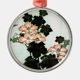 Katsushika Hokusai (葛飾北斎) - Hibiscus and Sparrow Metal Ornament