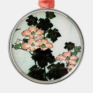 Katsushika Hokusai (葛飾北斎) - Hibiscus and Sparrow Metal Ornament