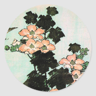 Katsushika Hokusai (葛飾北斎) - Hibiscus and Sparrow Round Sticker