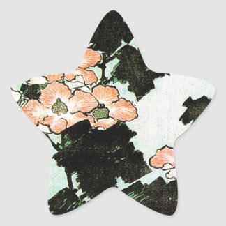 Katsushika Hokusai (葛飾北斎) - Hibiscus and Sparrow Star Sticker