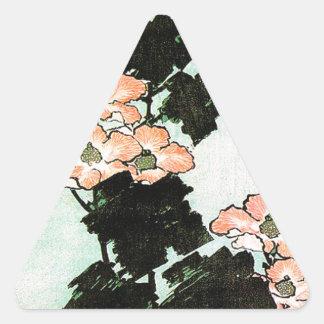 Katsushika Hokusai (葛飾北斎) - Hibiscus and Sparrow Triangle Sticker