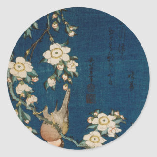 Katsushika Hokusai 葛飾 北斎 Goldfinch and Cherry Tree Round Sticker