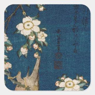 Katsushika Hokusai 葛飾 北斎 Goldfinch and Cherry Tree Square Sticker