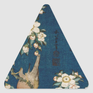 Katsushika Hokusai 葛飾 北斎 Goldfinch and Cherry Tree Triangle Sticker