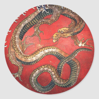 Katsushika Hokusai Mythical Legendary Dragon art Round Sticker