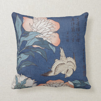 Katsushika Hokusai Peonies and Canary Throw Pillow