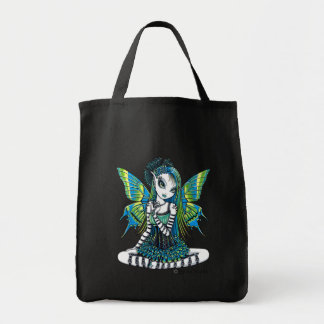 """Katy"" Green Tattoo Faerie Art Canvas Tote Bag"