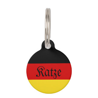 """Katze"" German (Female) Cat Tag with Flag"