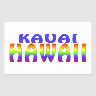 Kauai Hawaii rainbow words Sticker