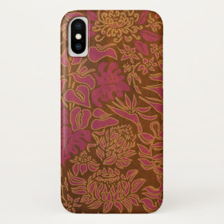 Kauai Morning Hawaiian Protea Faux Wood Floral iPhone X Case