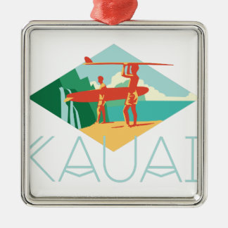 Kauai Surfers Metal Ornament