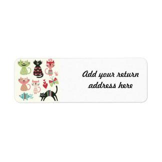 kawai,cute,cats,butterflies,fish,hearts,fun,happy, return address label