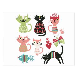 kawai,cute,cats,butterflies,fish,hearts,fun,happy, postcard