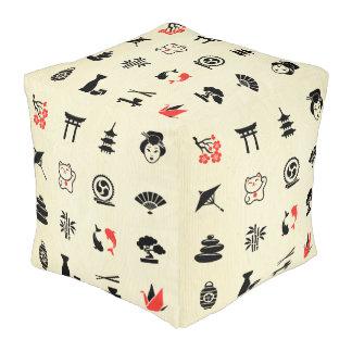 Kawai multi color asian good luck symbols cute fun pouf