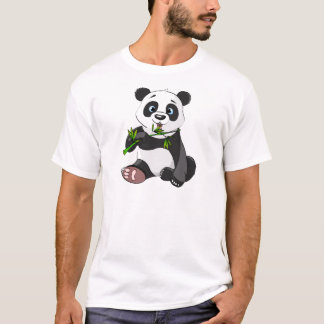 kawai panda eating palm leaf cute trendy lovely T-Shirt
