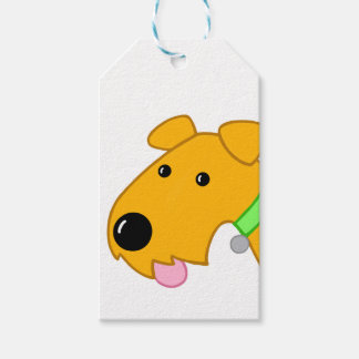 Kawaii Airedale Puppy Closeup Gift Tag