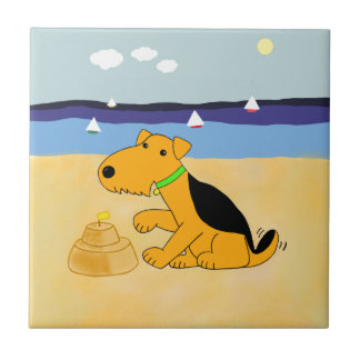 Kawaii Airedale Terrier Dog at Beach Tile
