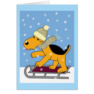 Kawaii Airedale Terrier Dog on Sled Greeting Card