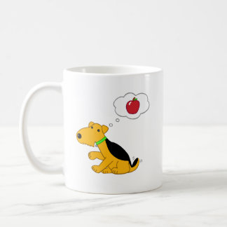 Kawaii Airedale Terrier Dog Thinking of an Apple Coffee Mug
