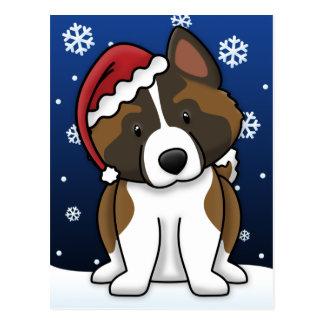 Kawaii Akita Christmas Postcard