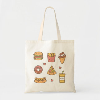 Kawaii and Cheerful Fast Food Girls Tote