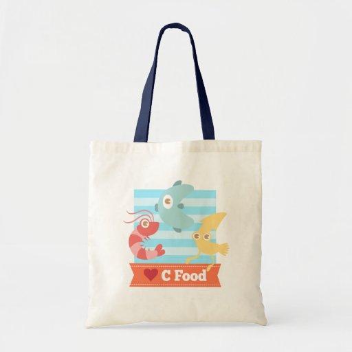 Kawaii and Funny Cartoon on C Food (Seafood) Canvas Bag