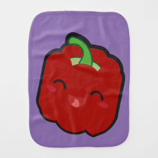 Kawaii and funny red pepper burp cloths