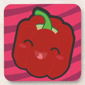 Kawaii and funny red pepper coaster
