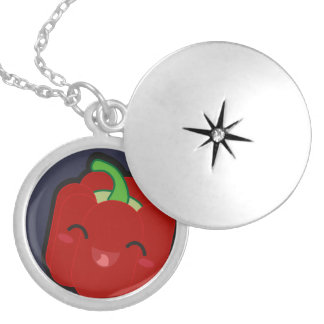 Kawaii and funny red pepper locket necklace