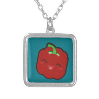 Kawaii and funny red pepper silver plated necklace