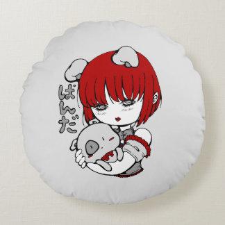 kawaii animal manga girl round pillow
